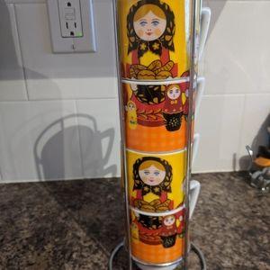 Set of 4 Nesting Russian Nesting Doll Glasses